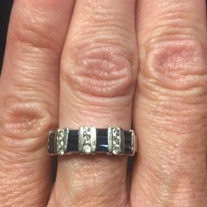 Jewelry - 14K white gold genuine sapphire & diamond band